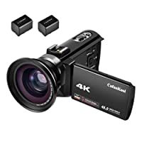 "CofunKool Camcorder 4K 48MP 60FPS 3.0"" IPS Touch Screen WIFI Video Camera with IR Night Vision, Wide Angle Lens and 2*Batteries"