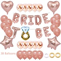 "Juland 18"" Bride to BE Balloons Banner Rose Gold 12"" Rose Gold Latex Balloons Confetti Balloons Wedding Party Bride Decorations Supplies Jumbo Foil Balloon Party Decor for Bridal Shower Wedding Bachel"