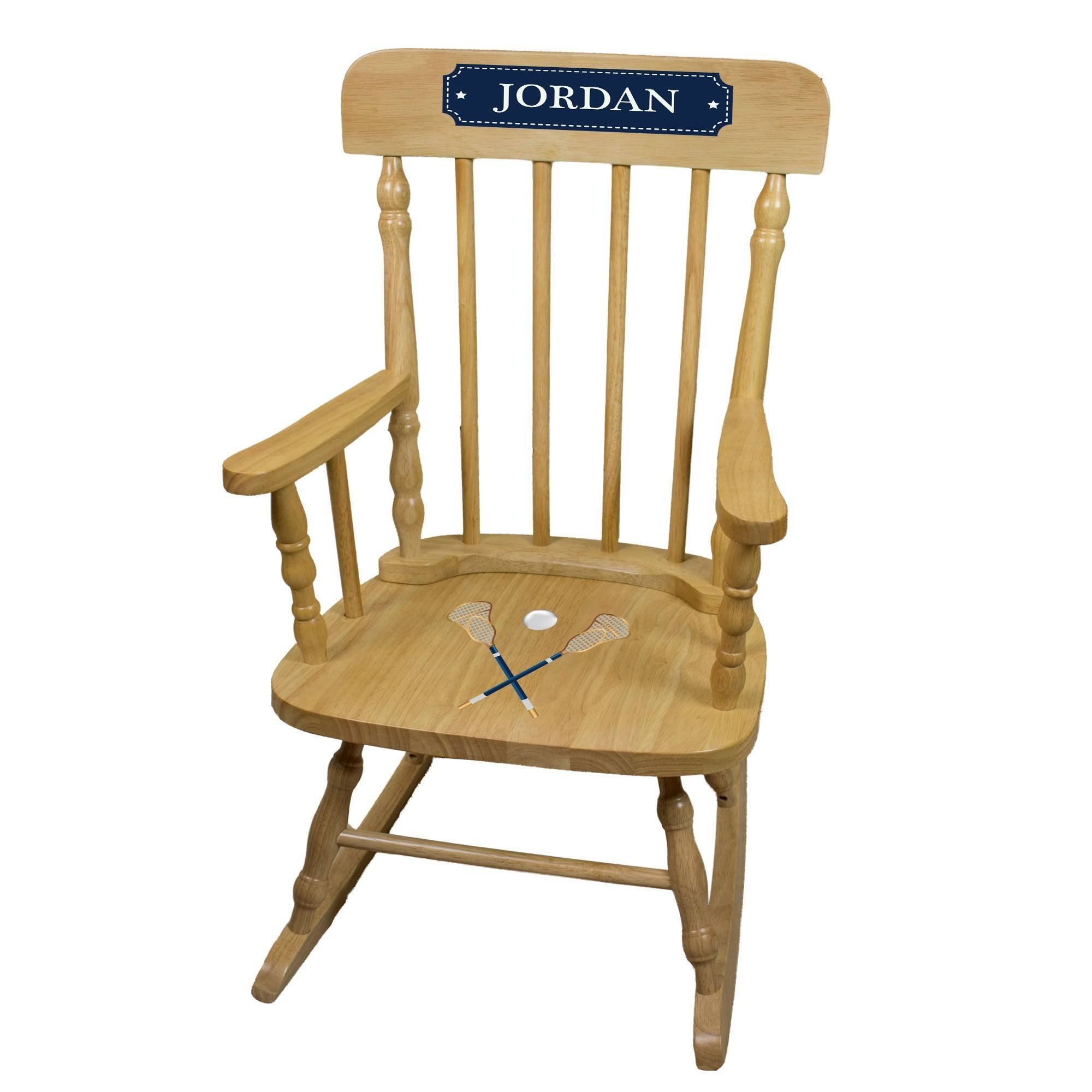 MyBambino Personalized Lacrosse Sticks Natural Wooden Childrens Rocking Chair