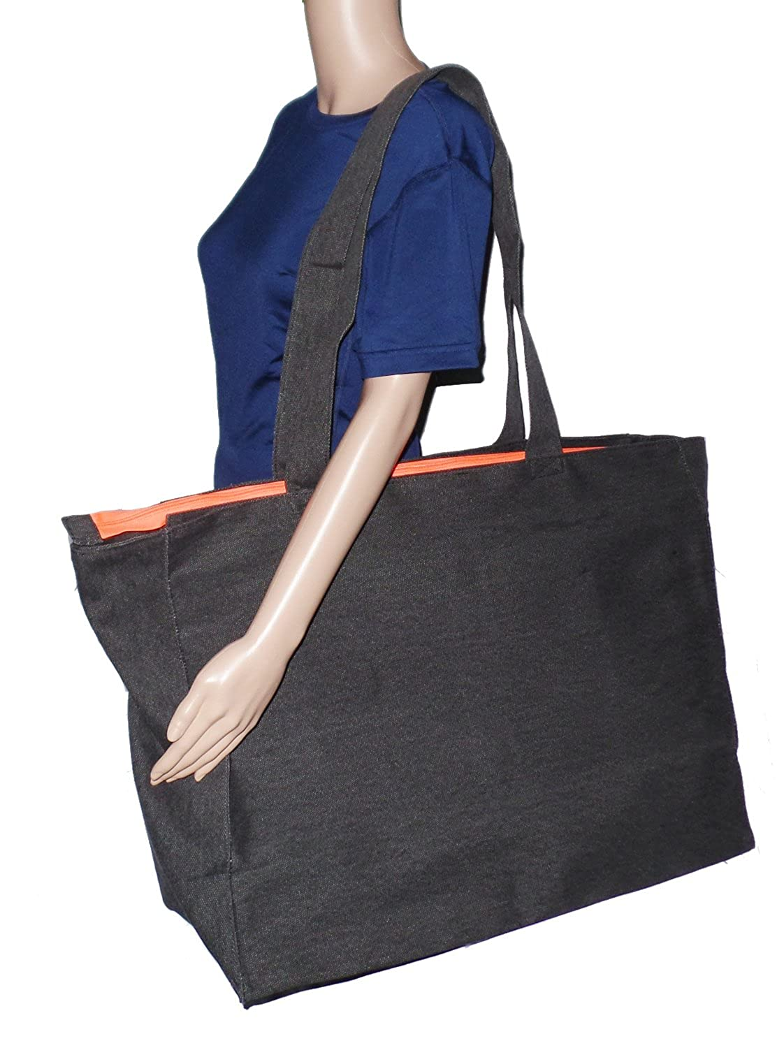 Amazon.com  Extra Large Travel Day Tote Bag Heavy Duty Cotton Twill Zip Top  (Charcoal Gray)  101 Beach 8c496a1bb6d3b