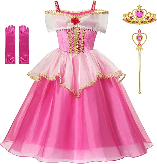 Sleeping Beauty Princess Aurora Costume Girls Birthday Party Dress Up With Accessories Age 3-12 Years