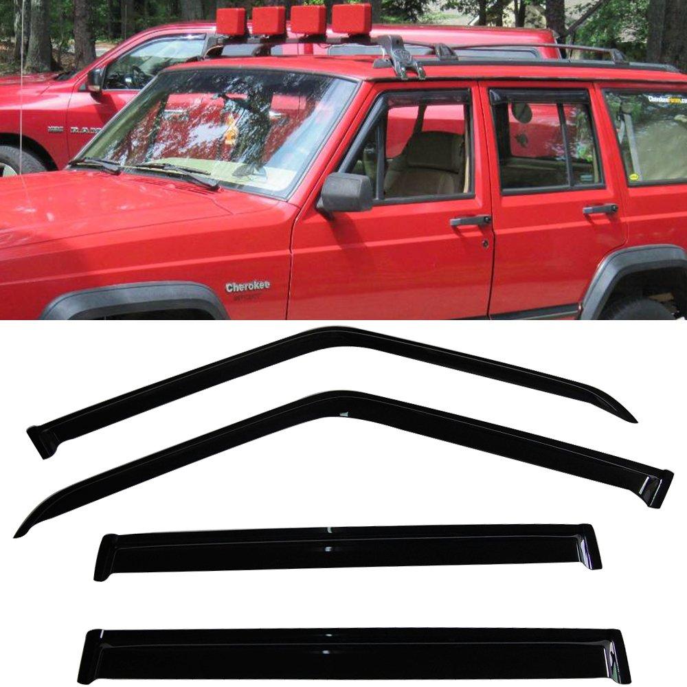 84-01 Jeep Cherokee Sun Window Visor Rain Guard Vent Shade Smoke Slim Style 4Pcs IKON MOTORSPORTS