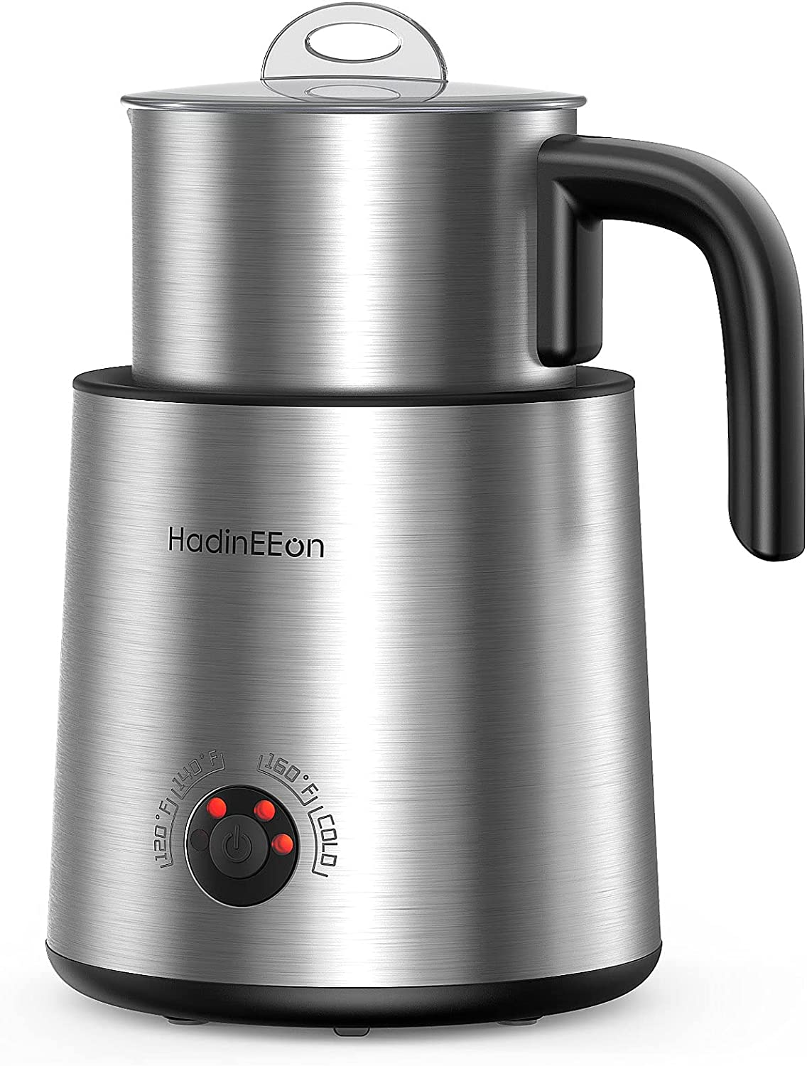 HadinEEon Detachable Milk Frother Variable Temperature, 13.5oz Automatic Electric Milk Frother, Dishwasher Safe Stainless Steel Hot/Cold Milk & Chocolate Steamer Detachable Milk Jug for Coffee, Latte