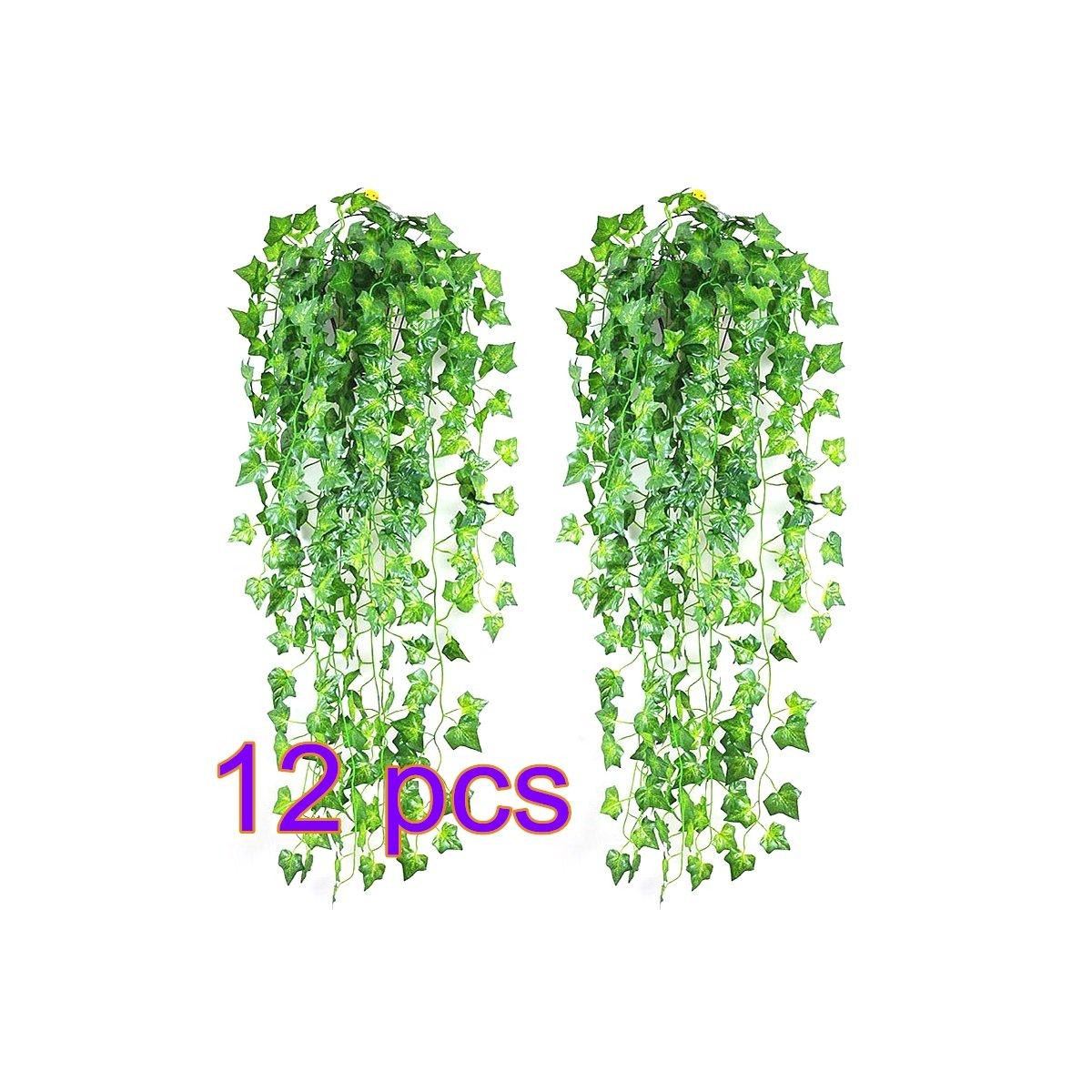 SINOTECH Kü nstliche Green Leaf –  Girlande Pflanzen Ivy Vine Blattwerk Hochzeit Home Dekoration, grü n, 1 Stpck