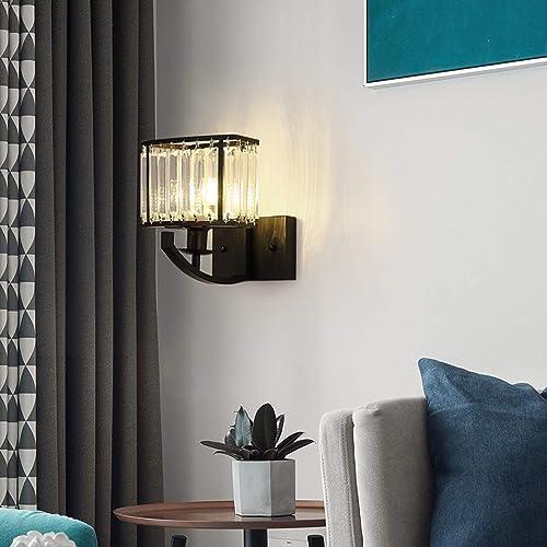 Moooni Black Crystal Wall Sconce Indoor Lighting Industrial Wall Mount Light Fixture Interior