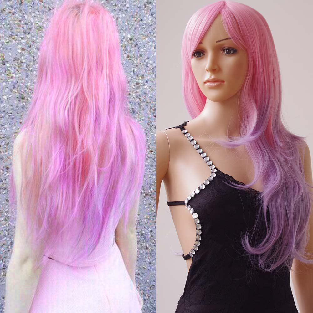 S-noilite 28'' Long Wavy Full Wigs With Bangs Ombre Two Tone Dyeing Color Synthetic Hair Anime Costume Cosplay Wig for Women Ladies Girls (Ombre Pink-Purple Mix)