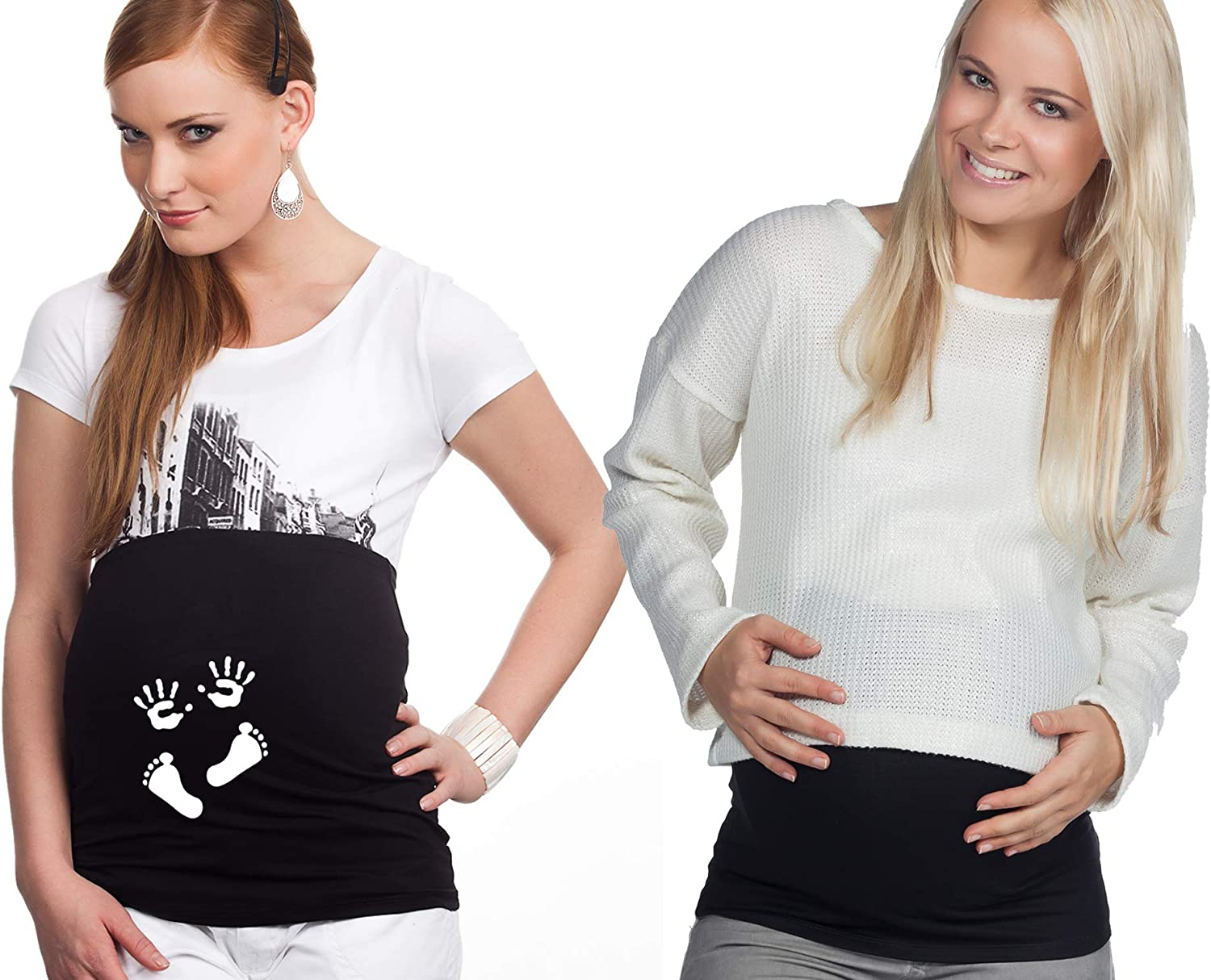 1 x printed Large -  Black Mamaband Pregnancy Belly Band for your baby belly 1 x Plain-coloured Back Warmer and Shirt Extension for Pregnant Women Double Pack Elastic Maternity Fashion