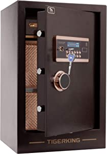 TIGERKING Burglary Digital Security Safe Box for Home Office Double Safety Key Lock and Password 3.47 Cubic Feet