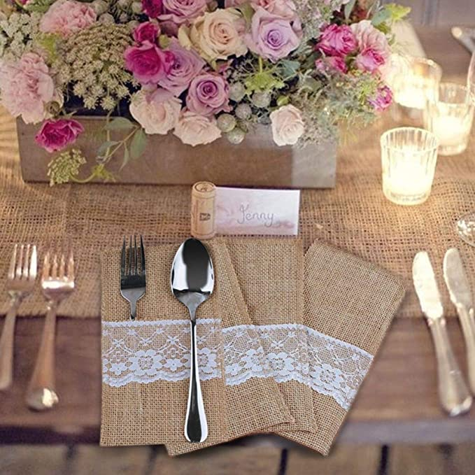 Amazon.com: Burlap Stand Fork Knife Party 10pcs Burlap Lace Fork Knife Holder Disposable Party Tableware Pouch 11x21cm Wedding Disposable Tableware: Toys & ...