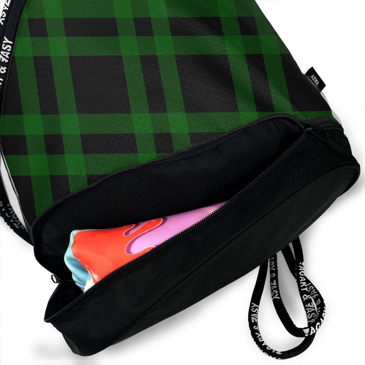 HUOPR5Q Black Green Plaid Pattern Drawstring Backpack Sport Gym Sack Shoulder Bulk Bag Dance Bag for School Travel