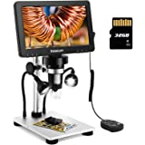 """TOMLOV 7"""" LCD Digital Microscope with 32GB SD Card 1200X, 1080P Video Microscope with Metal Stand, 12MP Ultra-Precise Focusin"""
