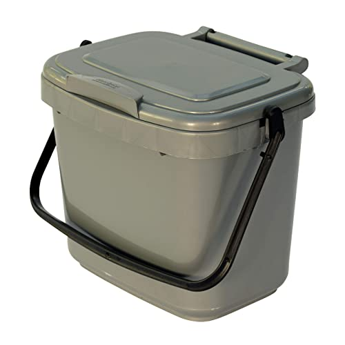 All-Green 5 Litre Plastic Kitchen Compost Caddy, Silver/ Grey