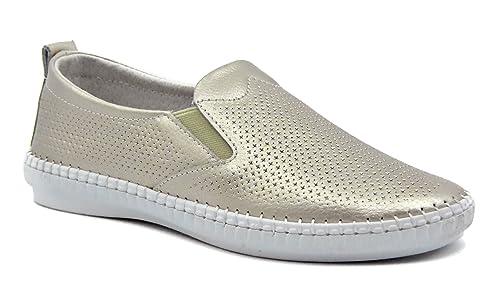 Knixmax-Mocasines de Mujer, Zapatillas Casuales de Plano Verano Zapatos Cómodos Transpirables Moda Zapatos del Barco Ocasionales Loafer,Beige 41EU: ...