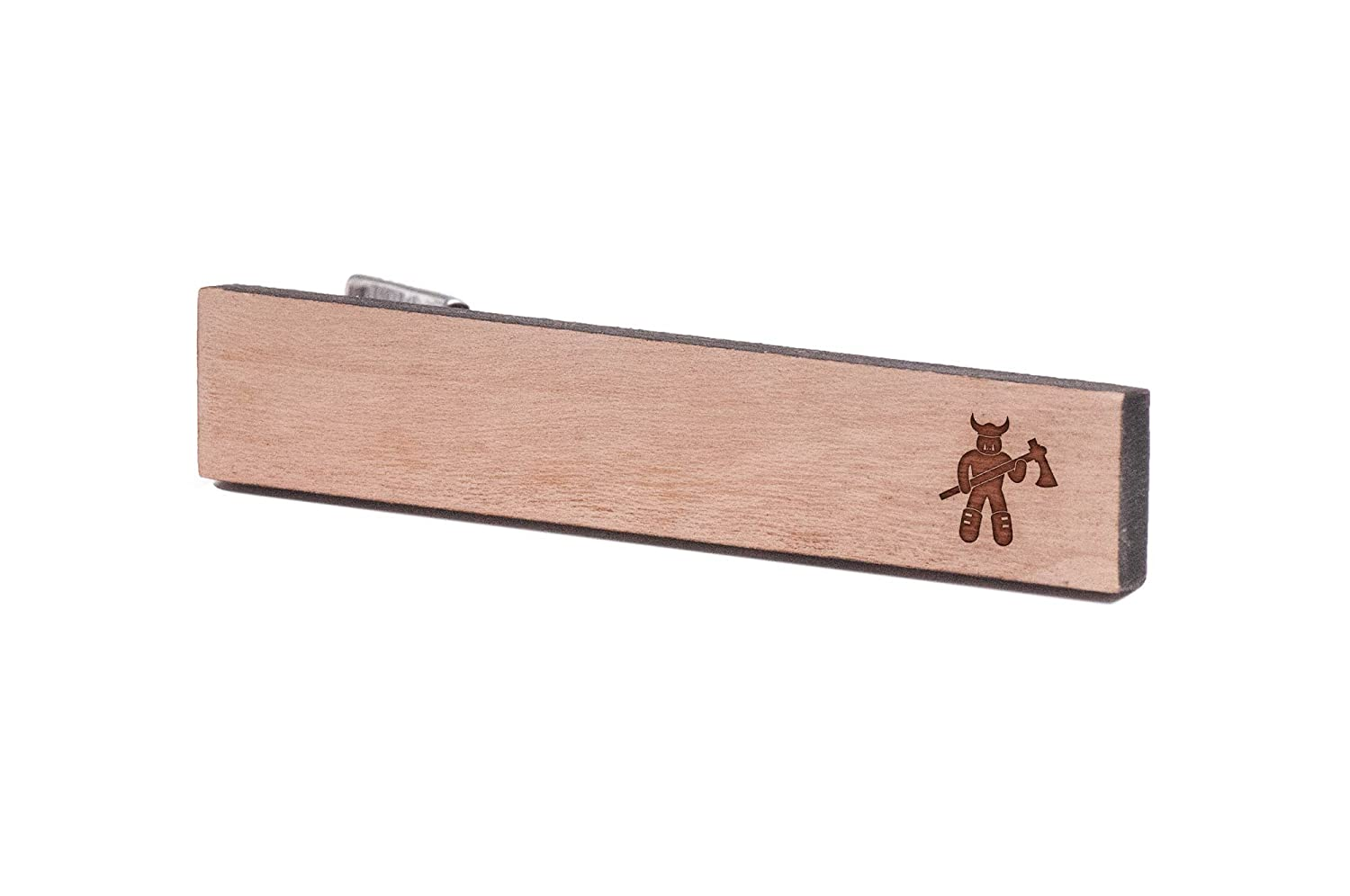 Wooden Accessories Company Wooden Tie Clips with Laser Engraved Orc Design Cherry Wood Tie Bar Engraved in The USA