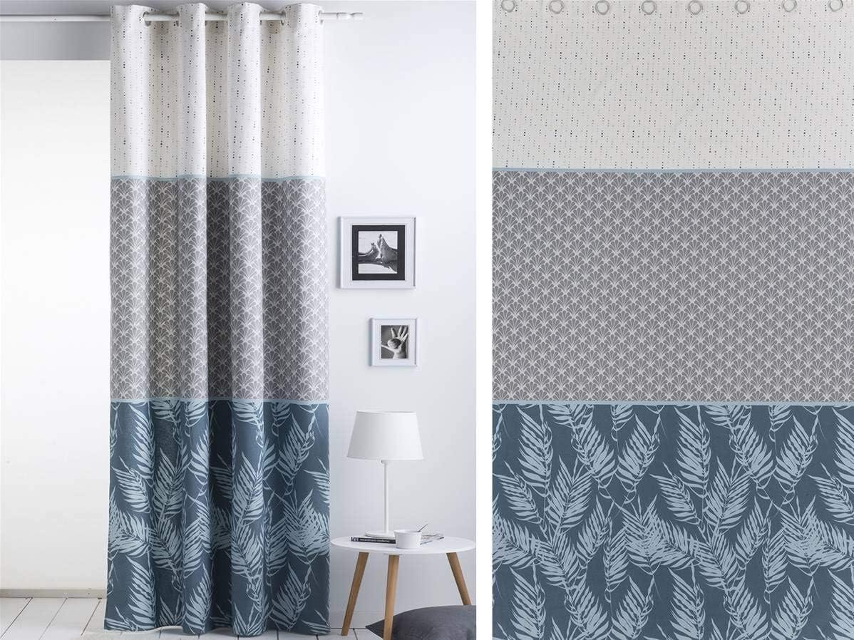 Color Azul Sansa Cortina con ollaos AMAN 150x260 cm