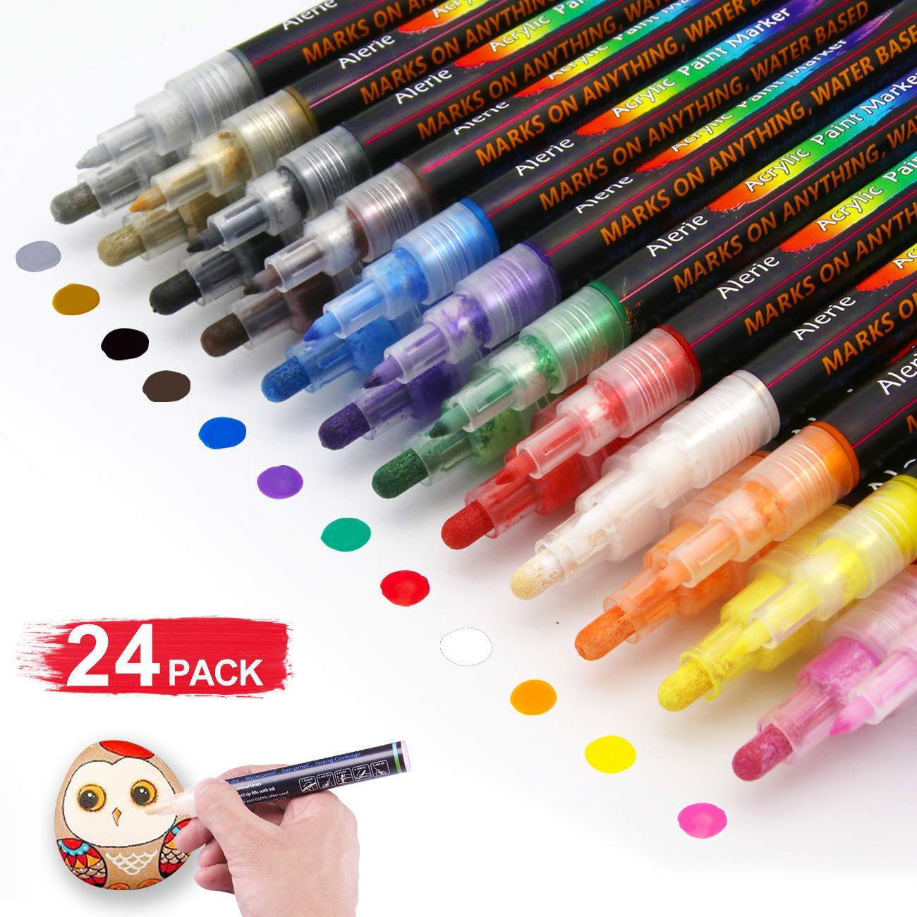 Acrylic Paint Pens - 24 Acrylic Paint Markers for Rock Painting, Stone, Metal, Ceramic, Porcelain, Glass, Wood, Fabric, Canvas.Set of 12 Colors Paint Markers with 3 Different Tip Precision by Alerie
