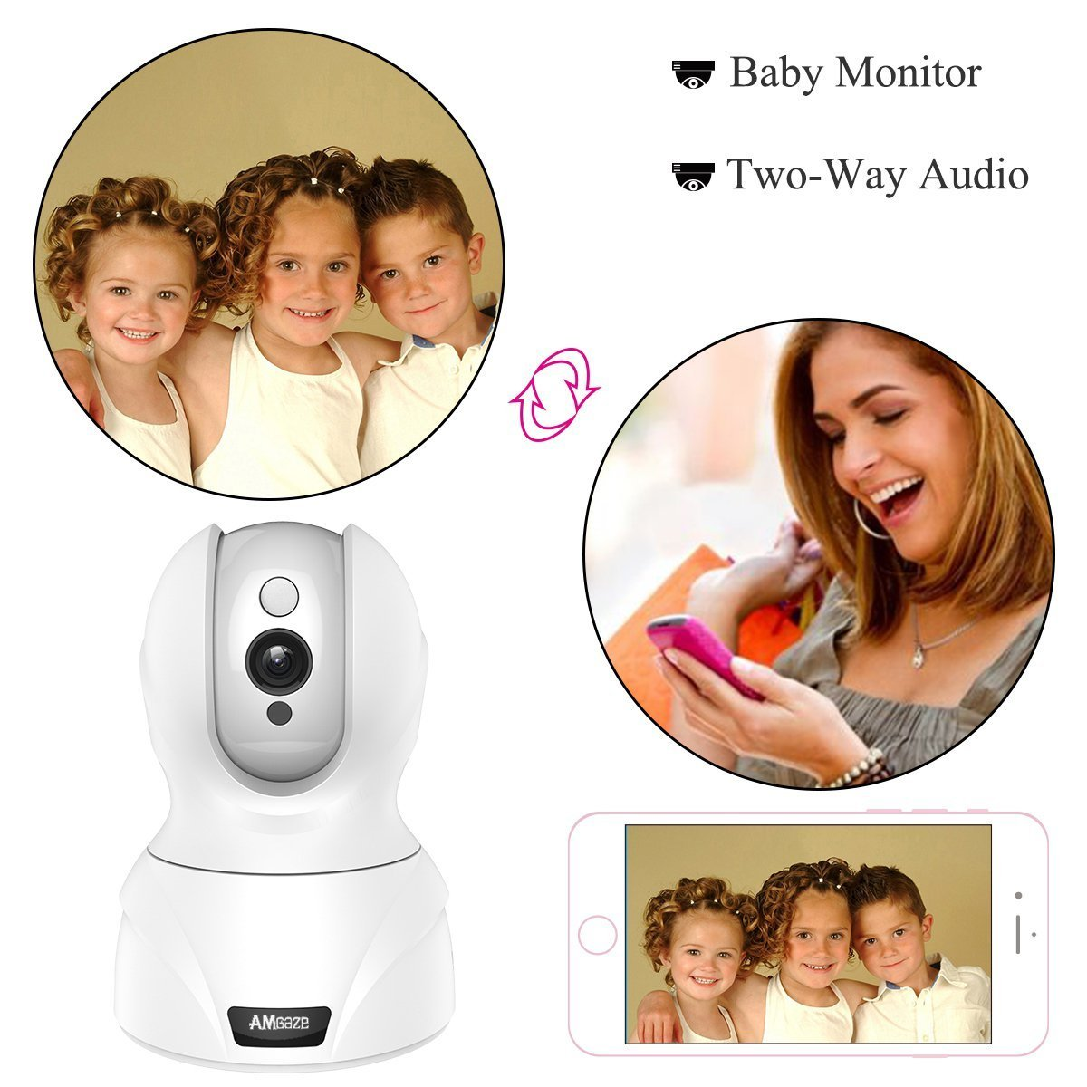 720P Wlan IP Camera, Wireless Home Security Camera, WiFi Surveillance Security System Video Recording Dome Camera, Monitor for Baby & Pet (720P, White), Topgio