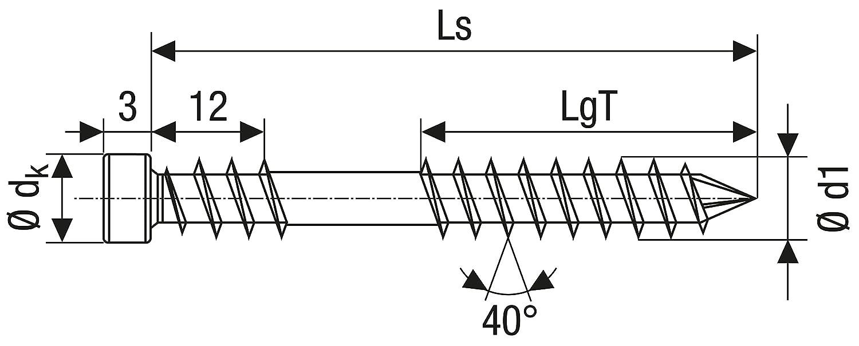 CUT-Spitze SPAX Terrassenschraube aus Edelstahl rostfrei A4 100 St/ück 0538000600503 Fixiergewinde T-STAR plus Zylinderkopf 6,0 x 50 mm