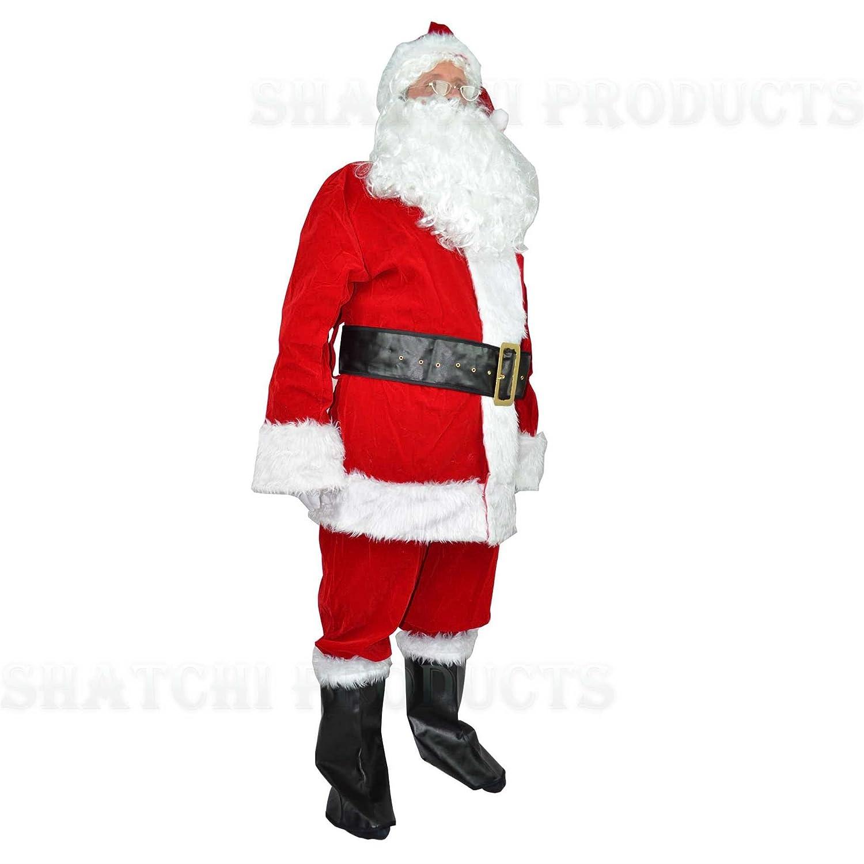 Goods Online 24/7 Luxuriöses Weihnachtsmann-Kostüm aus SAMT mit 8 Teilen, Größe XL