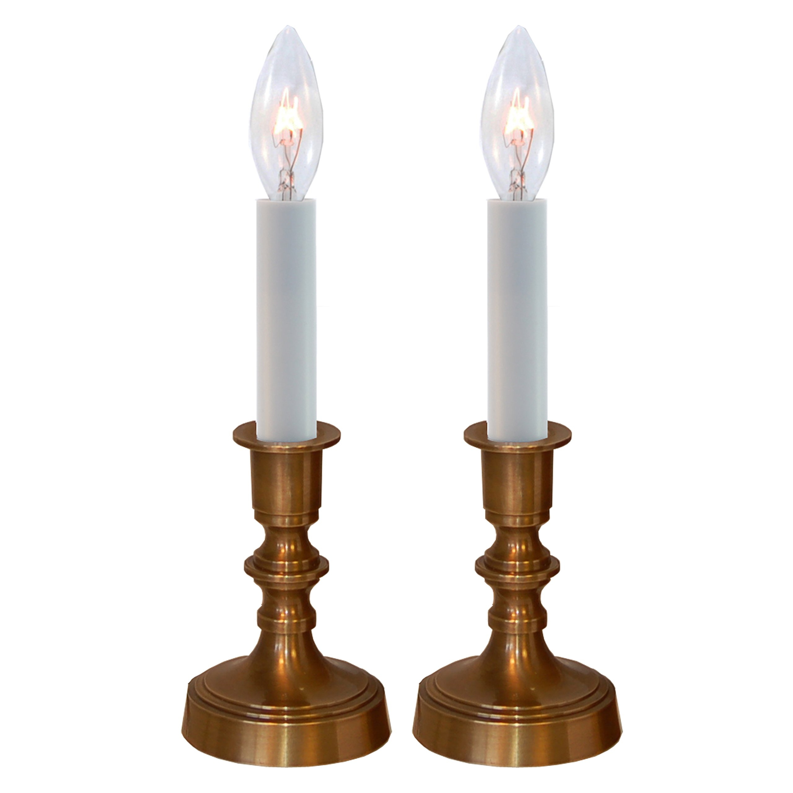 Solid Brass Antique Finish Window Accent Candle Lamp Set of 2 by Carpenter Creek