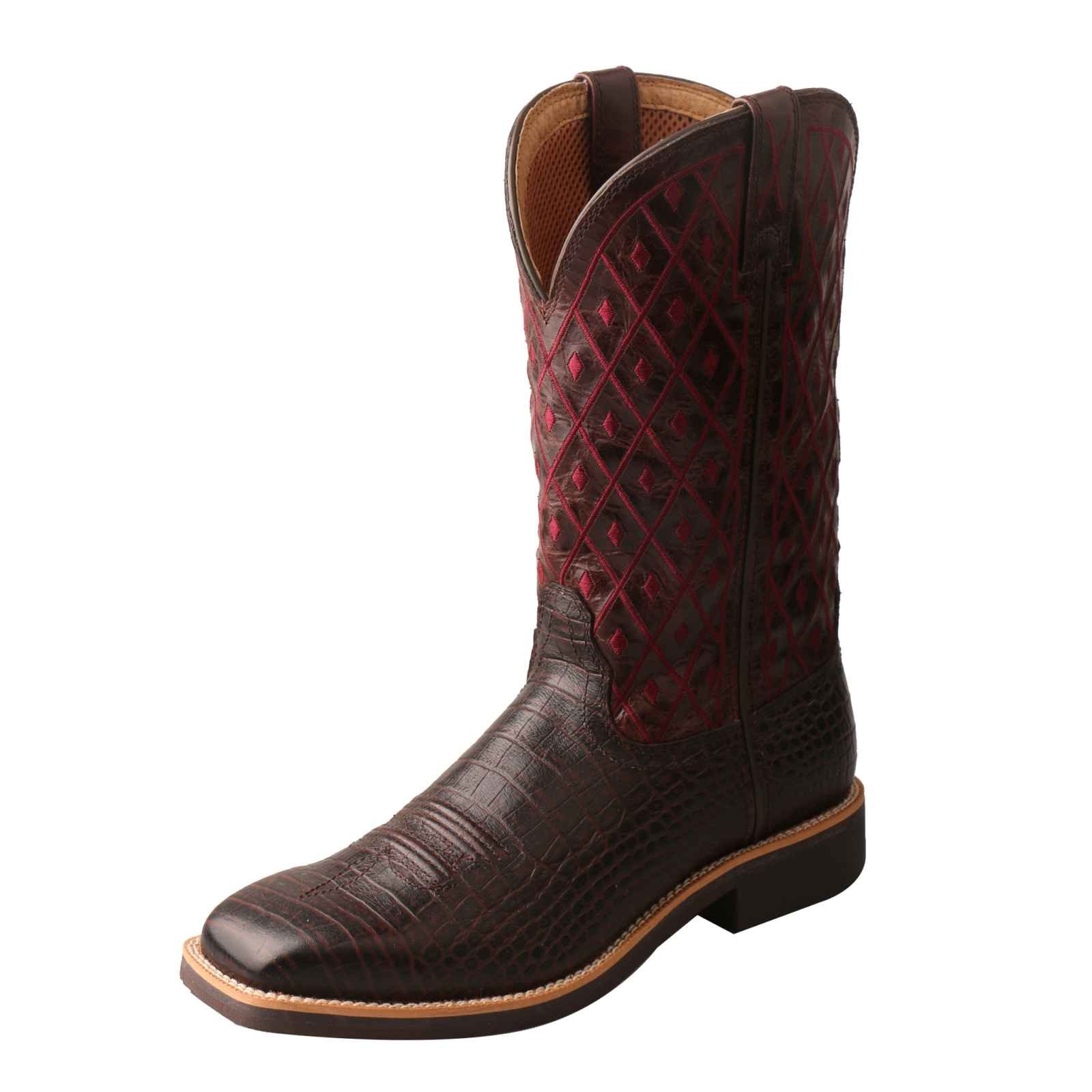 Twisted X Women's Top Hand Caiman Print Square Toe Cowgirl Boots (6.5)