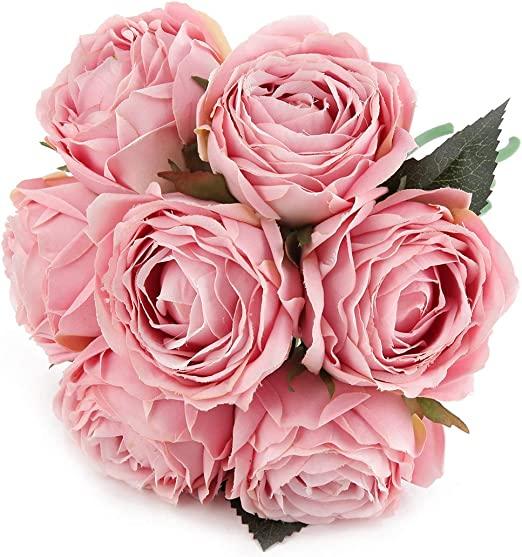 Artificial Pink Star Flower with Onion Grass Bush-Spring Wedding Floral