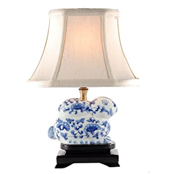 Small Blue & White Porcelain Bunny Table Lamp - Small Porcelain ...