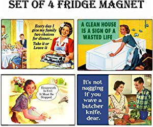 REFRIGERATOR MAGNET Set of 4 House Work Retro Funny Fridge Magnets - 003