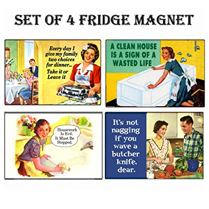 "Fridge Fun Refrigerator Magnet /""WOMEN ARE LIKE CARS.../"" Retro Funny"