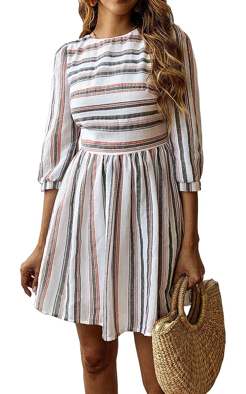 ccd74bf022c74 BTFBM Women Summer Dresses Casual Striped Half Sleeve A Line Short Dress