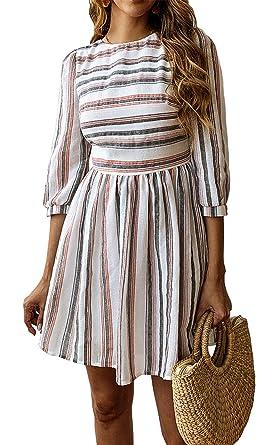 3d2e494200 BTFBM Women Summer Dresses Casual Striped Half Sleeve A Line Short Dress  (Black   Red