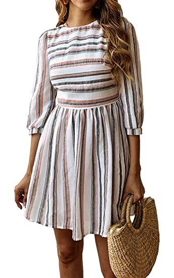 969c71689b620 BTFBM Women Summer Dresses Casual Striped Half Sleeve A Line Short Dress