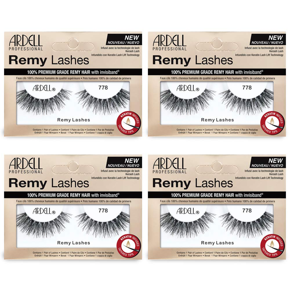 Ardell Remy Lash 778, 100% Premium Grade Remy Hair False Lashes with Invisiband, 4 pairs