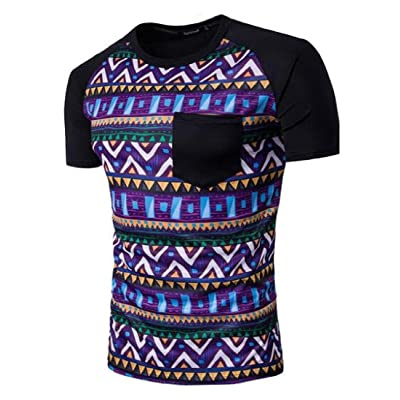 AngelSpace Mens Short-Sleeve Round Neck Printed Pullover T-Shirt Top