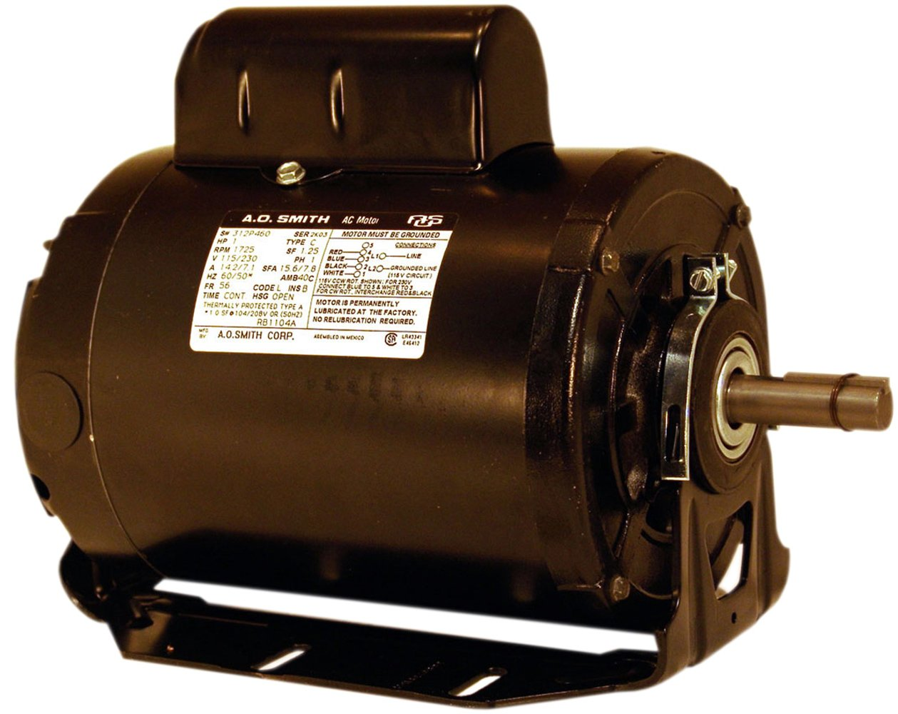 A.O. Smith RB1054AV1 1/2 HP, 1725 RPM, 115/230 Volts, 56 Frame, Open Enclosure, Ball Bearing Capacitor Start Motor by A. O. Smith B007ATNEVQ
