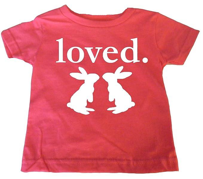 Amazon.com: Custom Kingdom Little Girls Loved Easter Bunny T ...