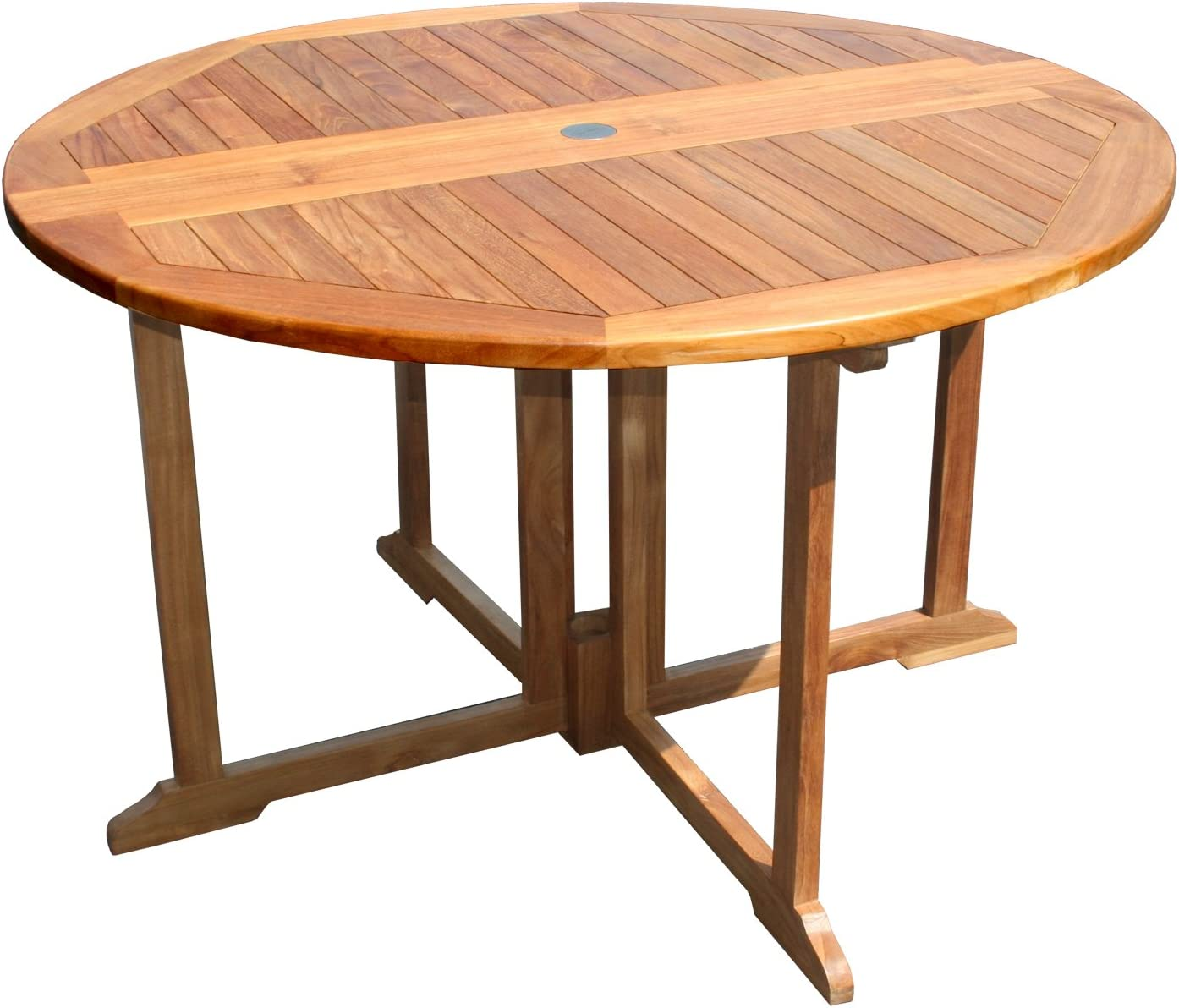 Teak Butterfly Round Outdoor Patio Folding Table
