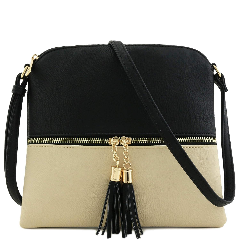 7503da767c Lightweight color block medium crossbody bag with tassel black nude  handbags jpg 1500x1500 Crossbody bags