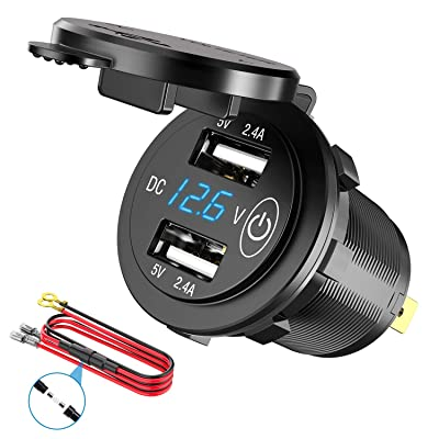 12V USB Outlet, SunnyTrip Waterproof 12V/24V 24W 4.8A Dual USB Charger Socket Power Outlet Adapter with LED Digital Voltmeter and Switch for Car Marine Boat Motorcycle Truck Golf Cart and Mobile: Automotive