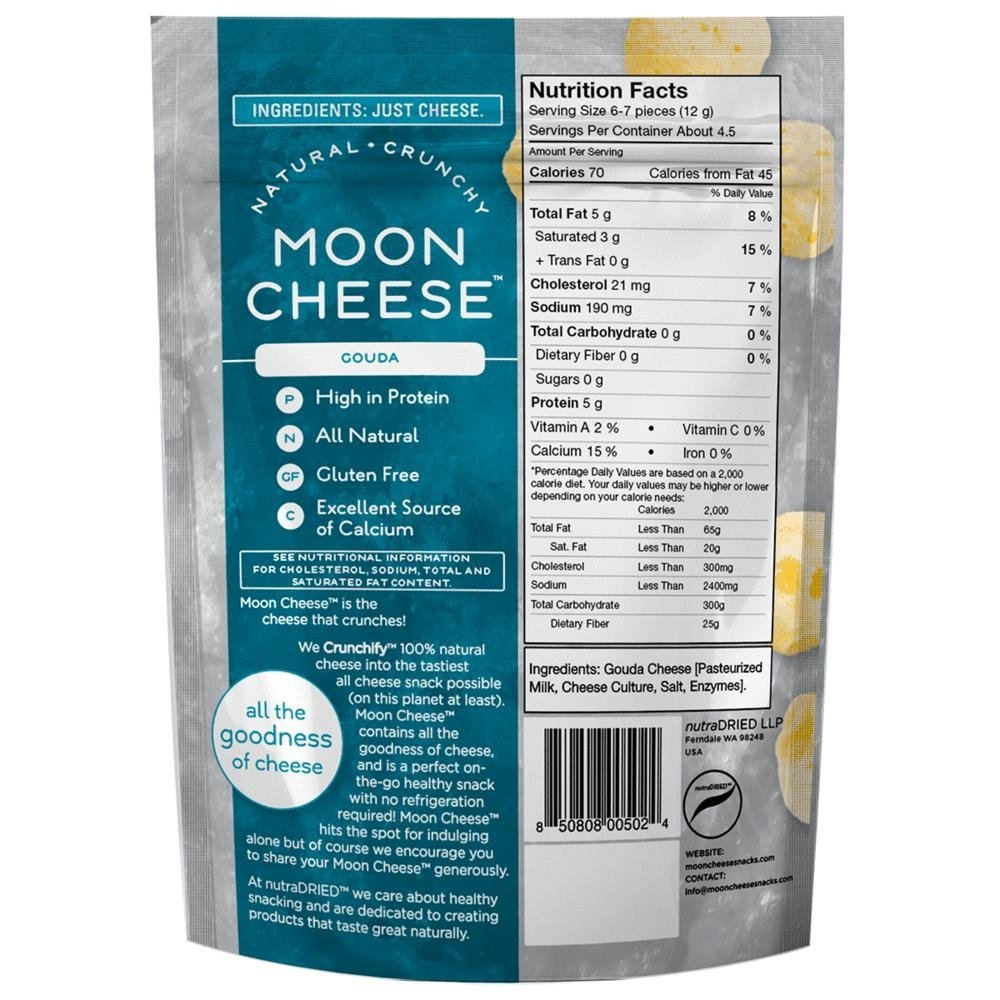 Moon Cheese, Pack of 12, Assortment (Cheddar, Gouda, Pepperjack, Sriracha), 100% Cheese and Gluten Free, 2 OZ Bags by Moon Cheese (Image #2)
