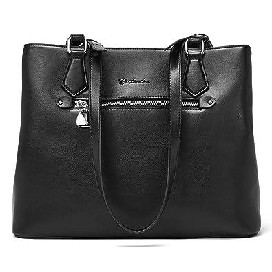 f8912729d1cf71 BOSTANTEN Women Leather Handbag Long Top-handle Purses Designer Shoulder  Bags Black