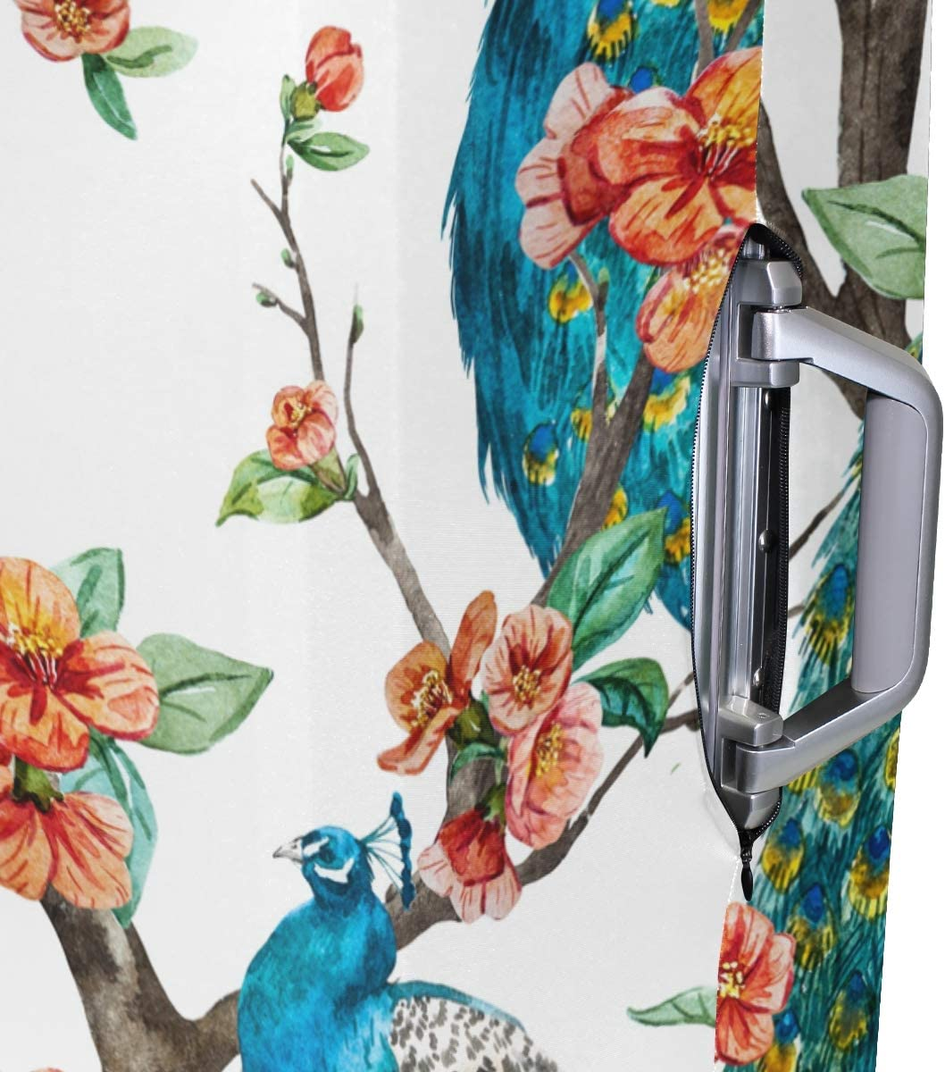 FOLPPLY Elegant Peacock Flower Luggage Cover Baggage Suitcase Travel Protector Fit for 18-32 Inch