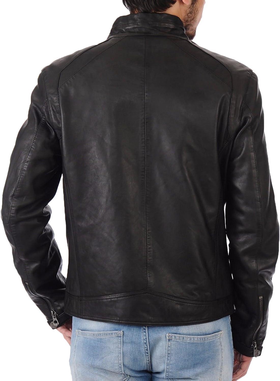 Kingdom Leather Mens Leather Jacket Slim Fit Biker Motorcycle Genuine Lambskin Jacket Coat X1434
