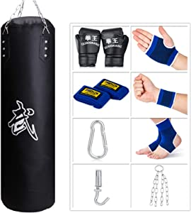 Sfeexun Punching Bag for Man Women Kids, Indoor/Garden Boxing Bag Unfilled Heavy Bag Set with Punching Gloves, Chain, Ceiling Hook for MMA, Kickboxing, Muay Thai, Karate, Taekwondo
