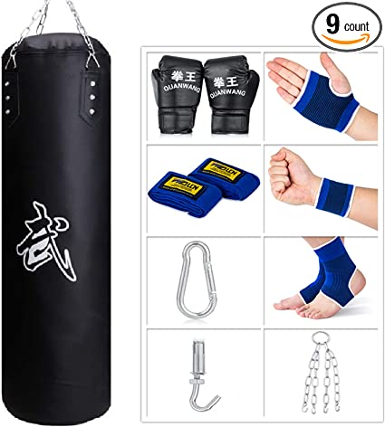 9 in 1 Punching Bag Heavy Hanging Boxing Speed Set for Workout Kickboxing MMA