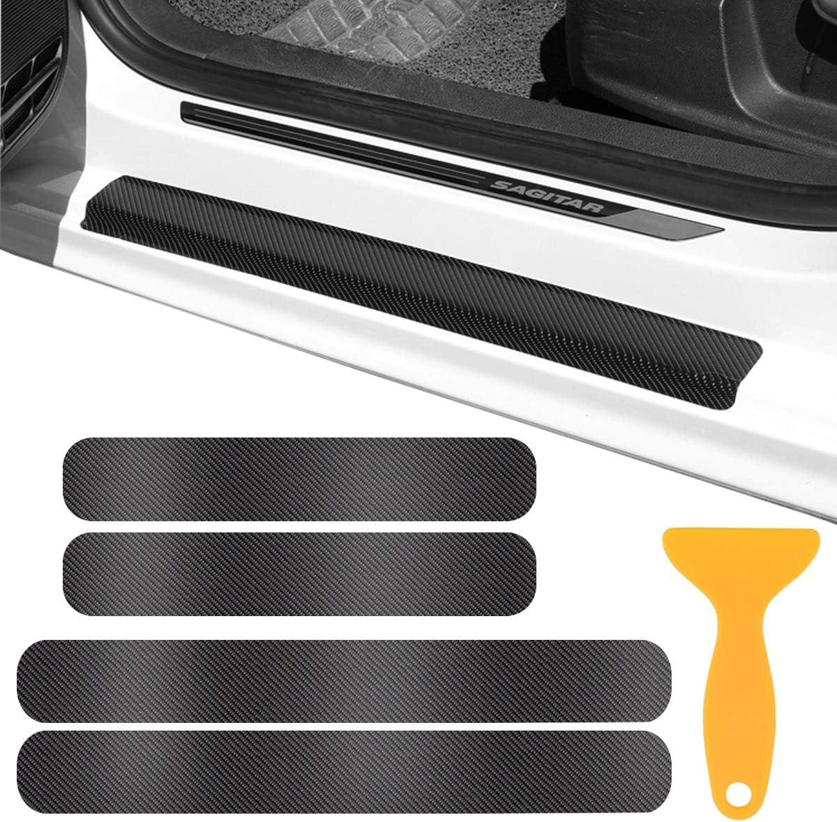 Kissral 4 Stk Auto Einstiegsleisten Aufkleber Universal Autotür Schutz Kratzfeste Schutzfolie Lackschutzfolie Türeinstiege Schritt Platte Anti Scratch Abdeckung Auto