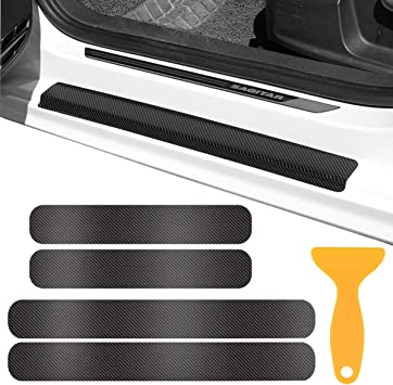 Door Sill Protector,3D Carbon Fiber Car Door Guard Bumper Protection Trim Cover Scuff Plate Sticker with Strong Adhesive for Universal Car SUV Pickup Truck 4Pcs,Black