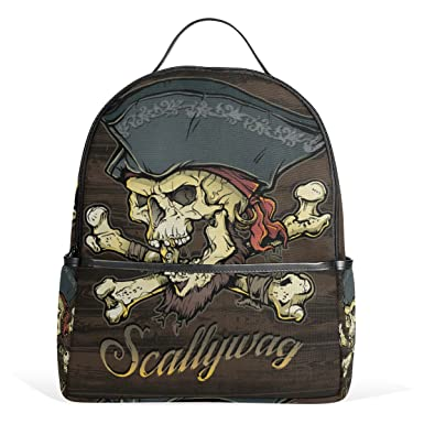 Image Unavailable. Image not available for. Color  ALAZA Skallywag Pirate Skull  Backpack School Bag ... 3caf6b3370074