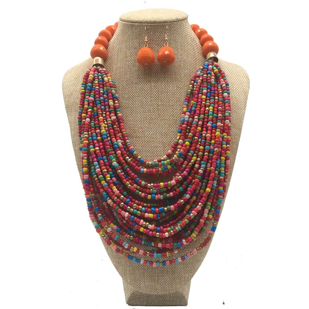 Halawly Newest Multi Layer Acrylic Beads Colored Statement Women Strand Necklace