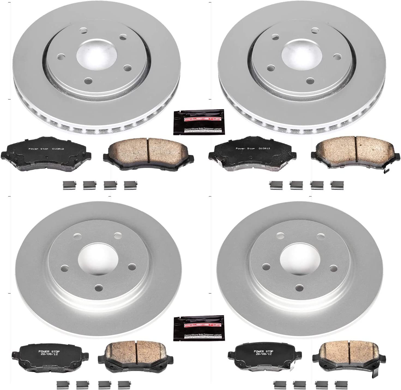 Power Stop CRK4015 Coated Brake Rotor /& Ceramic Brake Pads front /& rear